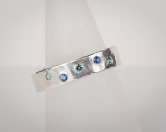 Gemstone Ring in a Sea of Blue, sapphire, zircon, sterling silver