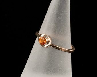 14K Solid Gold Orange Spessartine Garnet Ring, engagement ring, alternative, birthstone