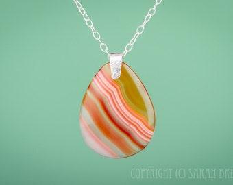 Sardonyx Teardrop Gemstone pendant necklace in Sterling Silver