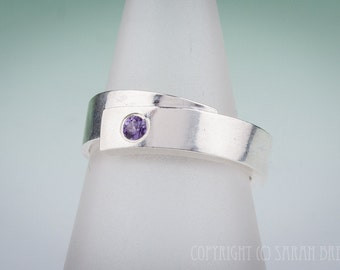 Sterling Silver Wrap Ring with Purple-Pink Sapphire gemstone, birthstone, handmade