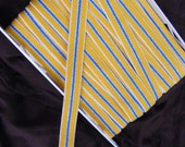 Vintage yellow, white, and blue striped belt elastic, 1 inch wide