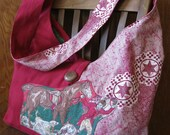the Bonnie Bag, Horse and Groom, in original vintage prints and buttons, AC Clothing and Bags