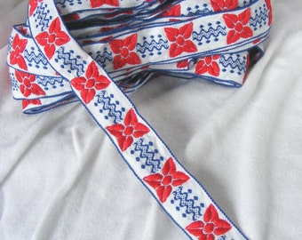 Vintage star flower jacquard cotton trim, with red flowers and royal blue zigzag and dot pattern, 7/8 inch wide