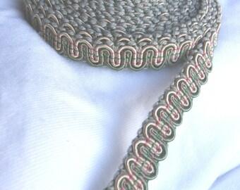 5 colors fancy gimp trim, your choice of - cream, sage, rose pink, leaf green, lavender, black