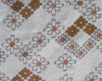 Vintage flower print fabric in cream, light golden brown, and coral, fuzzy like flannel on the inside, 4 yards available