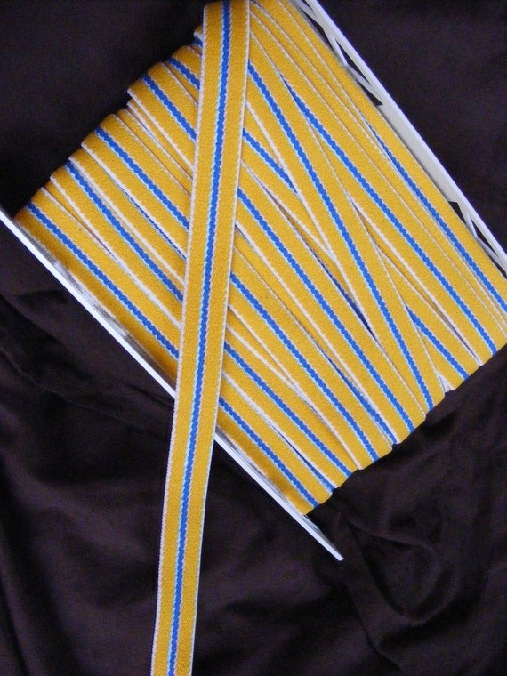 FOR VCL - 5 YDS - Vintage yellow, white, and blue striped belt elastic, 1 inch wide