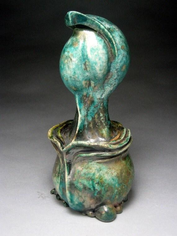 Abstract Raku Sculpture - Flashing Copper Glaze