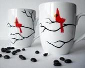 Christmas Cardinal Mugs - Set of 2 Hand Painted Red Bird Christmas Mugs