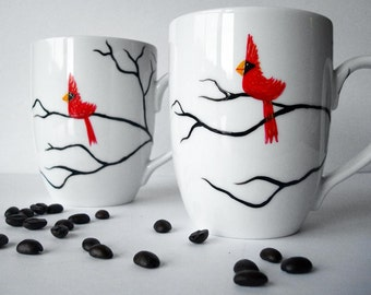Christmas Cardinal Mugs - Set of 2 Hand Painted Red Bird Christmas Mugs