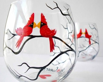 Gay Love Birds Stemless Wine Glasses--Set of 2 Hand-Painted Glasses