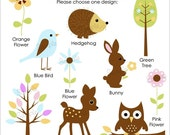 Set of 25 FOREST FRIENDS Personalized Cardstock Tags, 10 Designs To Choose From, Gift Tags, Hang Tags, Favor Tags