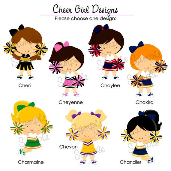 Set of 25 CHEER GIRL Personalized Cardstock Tags, 7 Designs To Choose From, Gift Tags, Hang Tags, Favor Tags
