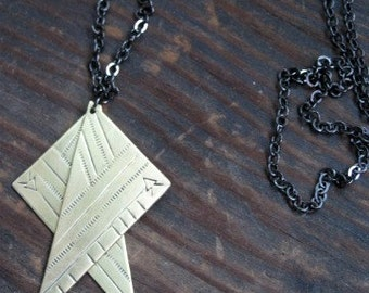 Makya Necklace - hand stamped brass triangles