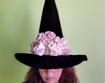 Witch Hat Elegant Black Velvet Pink Roses Witches Hat, Adult Halloween Costume