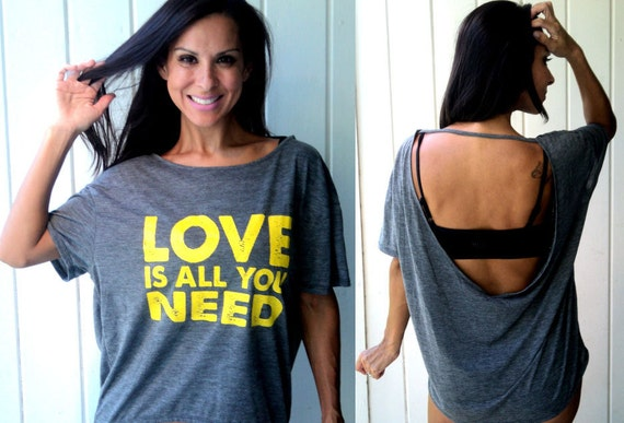 love is all you need...backless flowy burnout tee.  Sizes S-XL.