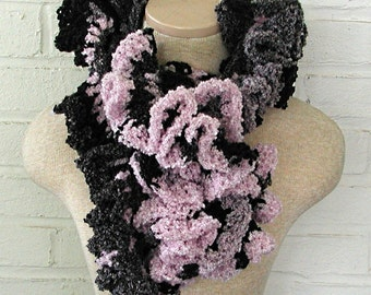Black and Pink Ruffle Scarf