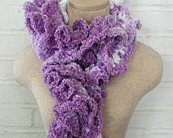 Lilac and White Ruffle Scarf