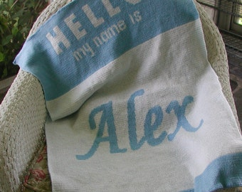 Personalized Knit Baby Blanket - Hello Name Tag