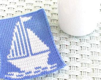Knit Sailing Mugrug Coaster