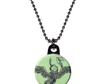 Wizard of Oz Flying Monkey Image Necklace -green
