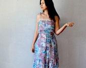 vintage BOHEMIAN dress  /  shoulder ties1970s FLORAL sun dress