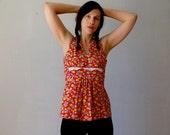 floral PRAIRIE blouse / 1970s sleeveless empire waist top