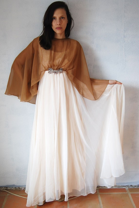 vintage EMMA DOMB gown/  1960s double layered chiffon evening party wedding dress