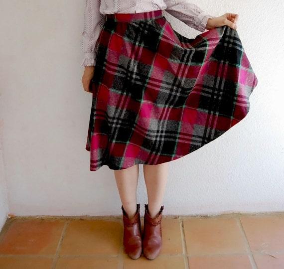 vintage PLAID skirt / 1970s DEAD STOCK wool full skirt