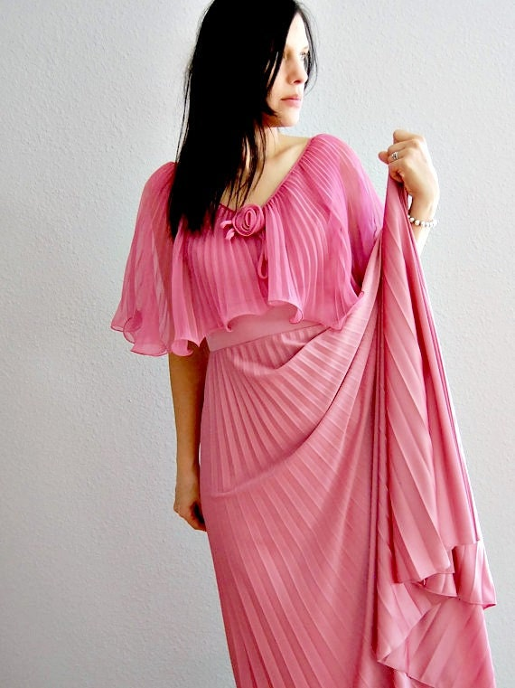SALE vintage CAPE dress / 1970s dusty ROSE pleated party dress