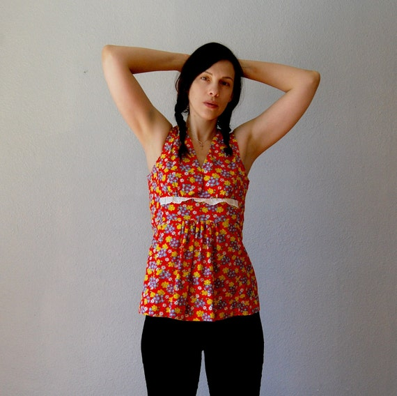 floral PRAIRIE blouse / 1970s sleeveless empire waist top