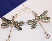 Dragonfly Earrings, Silver, Crystal, Shimmer Shimmer, Shabby Chic, Wishes and Dreams Collection, Mayfly