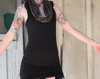 Womens mini Dress with hood/Tunic/mini dress with cowl/organic cotton/HerbanDevi