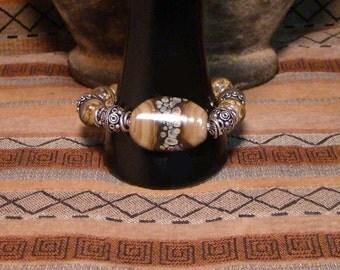 Fawn - OOAK Tan Multi/Raku Lampwork and Sterling Silver Bracelet.  RE-27