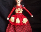 Hand Painted Fabric Stuffed Red Head Valentine's Day Doll Old Fashioned Pretty Sweetheart Hand Sewn Original  PRETTY AWFUL Team