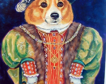 Pembroke Welsh Corgi dog King Humor Giclee Fine or aceo card Art Print King of the House