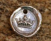 Artisan Handcrafted Crown on Seal Charm in Sterling Silver