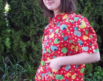 Red fruit print button-down cotton blouse in vintage print size small