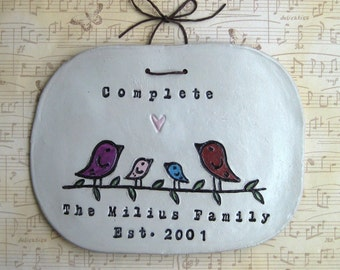 Personalized Family Name Signs: Bird Family Wall Hanging