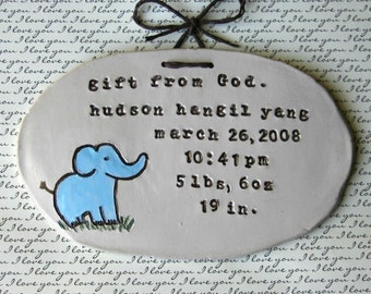 Birth Info- Elephant Wall Hanging