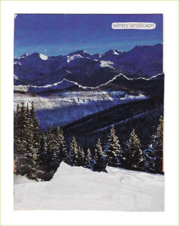 Collage art notecard WINTRY LANDSCAPE handmade OOAK 6.5x5 blank inside with envelope