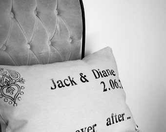 Wedding Pillow - HAPPILY EVER AFTER - customize the names and date - Wedding or Anniversary Gift