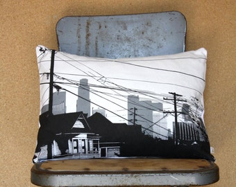SALE - Echo Park Pillow - Los Angeles California Decorative Throw Pillow - Echo Park Decor - LA Skyline - Gray and Black Modern Throw Pillow