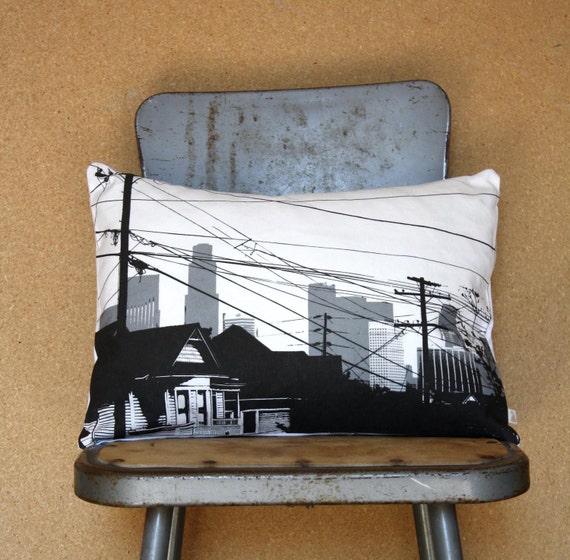 SALE - Echo Park Pillow - Los Angeles California Decorative Throw Pillow - Echo Park Decor - LA Skyline - Gray and Black Modern Throw Pillow