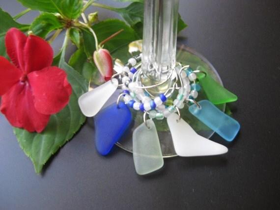 Seaglass Wine Glass Charms set of 6   Hostess gift