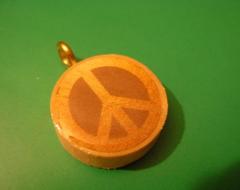 Give Peace a Chance recycled cork pendant