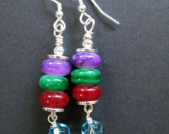 SALE Fiesta - Purple, Green, Red and Blue Sterling Silver Earrings