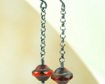 Glowing Red Long Dangle Earrings / Red Czech Glass Oxidized Sterling Silver earrings / Long Red Drop Earrings