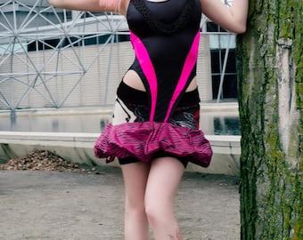 Japanese Fashion Harajuku Decora Girl KPop Kawaii Sundress in Pink Zebra Print Umbrella by Janice Louise Miller