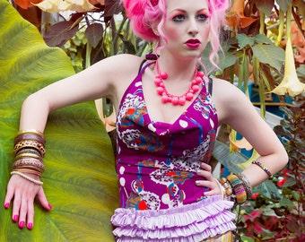 Tropical Japanese Harajuku Decora Girl KPop Kawaii Halter Top in Purple Vintage Print & Ruffles by Janice Louise Miller