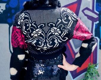 Japanese Fashion Harajuku Decora Girl KPop Kawaii Dark Mori Girl Patchwork Over-sized Fashion Shrug Soft Mohair by Janice Louise Miller